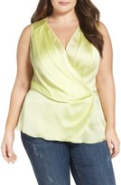 Melissa McCarthy Plus Size Women's Satin Plisse Surplice Top