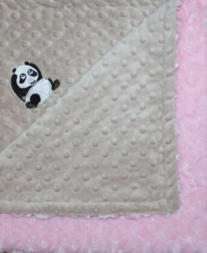 Lil' Cub Hub Minky Baby Girl Blanket With Embroidered Panda