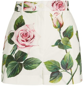 Dolce & Gabbana Tropical Rose Print Shorts