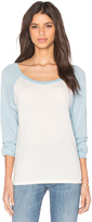 Michael Lauren Elroy Long Sleeve Contrast Crop Tee