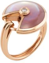 Cartier Women's Vintage 18K Rose Gold, Mother of Pearl & 0.09 Total Ct. Diamond Amulette Ring