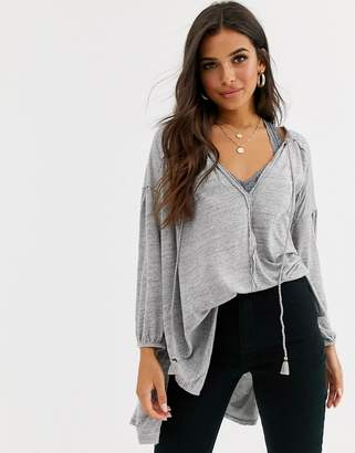 Free People Just A Henley tassel front top-Grey