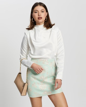 Missguided Women's White Shirts & Blouses - Satin Drape Neck Shoulder Pad LS Blouse - Size 10 at The Iconic