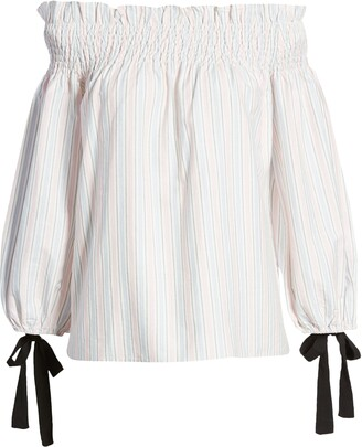 ENGLISH FACTORY Stripe Off the Shoulder Top