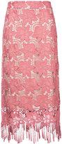 Alice + Olivia Alice+Olivia - fringed lace midi skirt - women - Polyester/Spandex/Elastane - 6