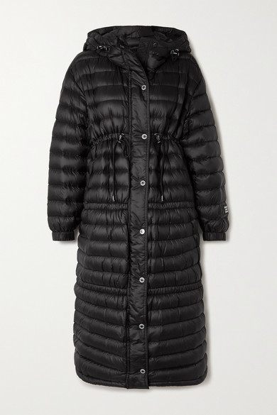 Burberry Appliqued Hooded Quilted Shell Down Coat - Black