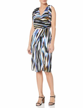Nicole Miller Women's Streaky Printed Faux-Wrap Dress with Belt