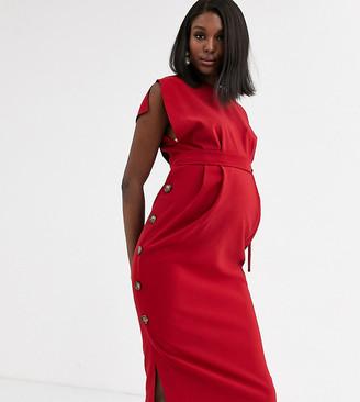 Asos DESIGN Maternity cap sleeve split sleeve midi dress with button skirt-Red