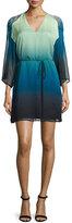 Halston Kimono-Sleeve Belted Ombre Dress, Atlantic