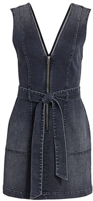 Alice + Olivia Denim V-Neck Mini Dress