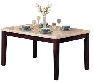 Winston Porter Mathieson Wooden Rectangular Dining Table Base Color: Walnut Brown, Top Color: Beige