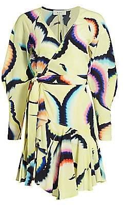 A.L.C. Women's Papilio Tie-Dye Print Silk-Chiffon Wrap Dress