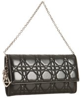 Christian Dior black cannage leather 'Rendez-Vous' convertible wallet