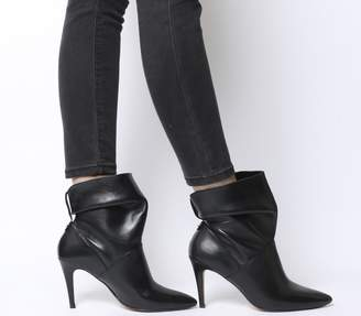 Office Aura Dressy Ruched Mid Heel Ankle Boots Black Leather