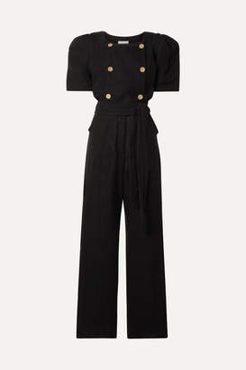 Lisa Marie Fernandez Diana Belted Double-breasted Linen-blend Gauze Jumpsuit - Black