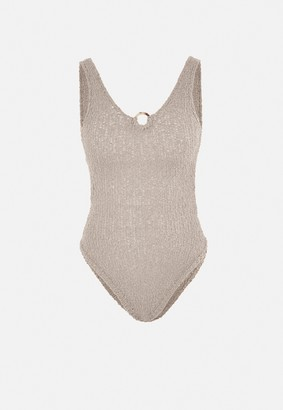 Missguided Petite Stone Crochet Knitted Buckle Bodysuit