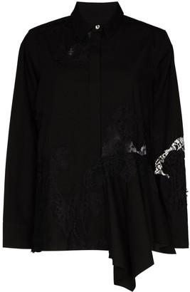 Marques Almeida Asymmetric Lace-Insert Shirt