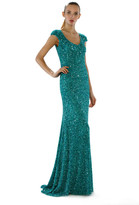 Theia Sequined Cap Sleeve Gown 882361