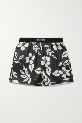Tom Ford Velvet-trimmed Floral-print Silk-blend Satin Shorts