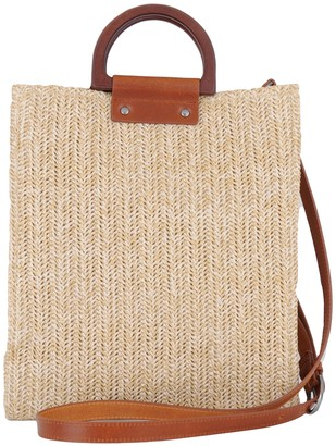 Most Wanted Design by Carlos Souza Leather Trim Wooden Top Straw Satchel