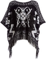 Pretty Angel Women's Ponchos BLACK/CREAM(BK/CM) - Black & White Geometric Fringe Poncho - Women