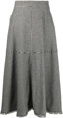 FEDERICA TOSI Raw Edge Houndstooth Wrap Skirt