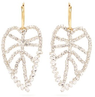 Lizzie Fortunato Crystal Leaf Gold Plated Earrings - Womens - Crystal