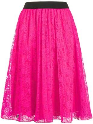 Philipp Plein floral-lace A-line skirt