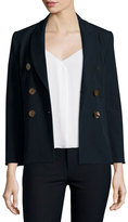Derek Lam 10 Crosby Double-Breasted Cotton-Blend Jacket, Midnight