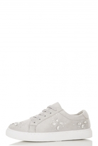 Quiz Grey Embellished Lace Up Trainers