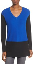 Vince Camuto Women's Colorblock Waffle Stitch V-Neck Sweater