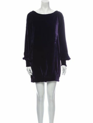 Alexander McQueen Scoop Neck Mini Dress Purple