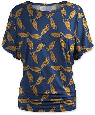 Udear UDEAR Women's Blouses Print - Blue & Gold Leaf Dolman Top - Women & Plus