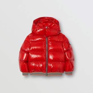 Burberry Childrens Icon Stripe Detail Down-filled Hooded Puffer Jacket