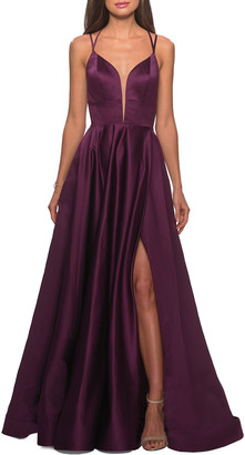 La Femme V-Neck Sleeveless Strappy-Back Satin Gown w/ Thigh Slit