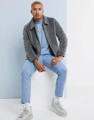 ASOS DESIGN faux fur jacket in grey