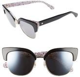Kate Spade Women's Karri 53Mm Sunglasses - Black/ Pattern Red