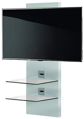 """VCM Scala-3"""" Wall Furniture with LED/LCD Wall Mount and 2-Glass Shelves, White Varnish/Black Glass"""
