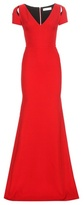 Victoria Beckham Shoulder Slit Wool And Silk Dress