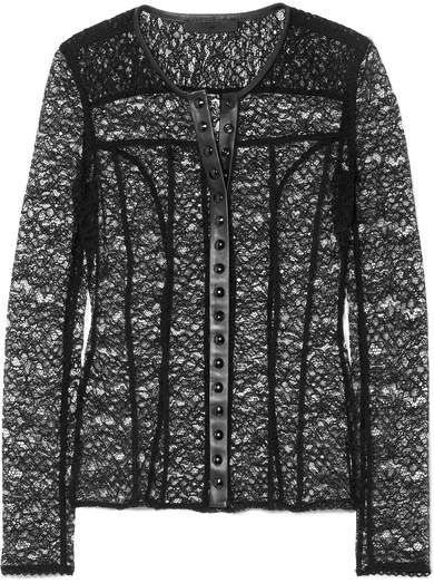 Alexander Wang Faux Leather-trimmed Stretch-lace Top - Black