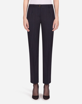 Dolce & Gabbana Low-Rise Pants In Pin-Stripe Woolen Fabric