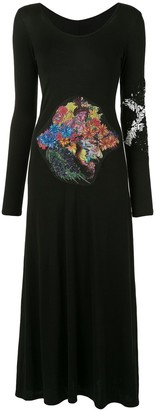 Yohji Yamamoto Floral Patch Embroidered Dress