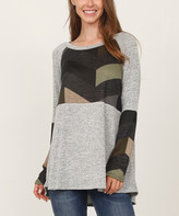 Egs By Eloges egs by eloges Women's Tunics OLIVE - Olive & Heather Gray Chevron Color Block Tunic - Women & Plus