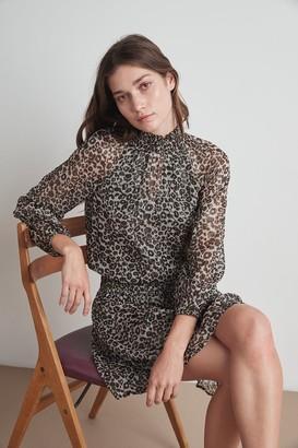 Velvet by Graham & Spencer Magda Leopard Lurex Smocked Dress