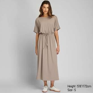 Uniqlo WOMEN Jersey Waist Gather Half Sleeve Dress