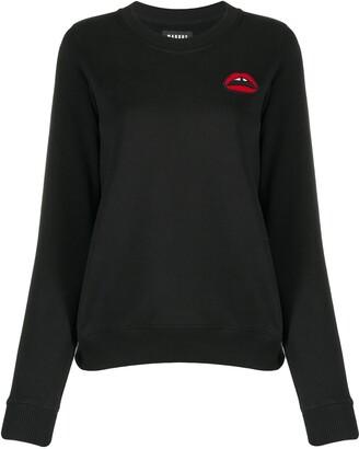 Markus Lupfer Lips Embroidered Round Neck Sweatshirt