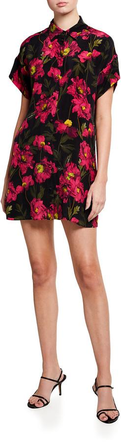 Alice + Olivia Lucette Button-Down Floral-Print Mini Shirtdress