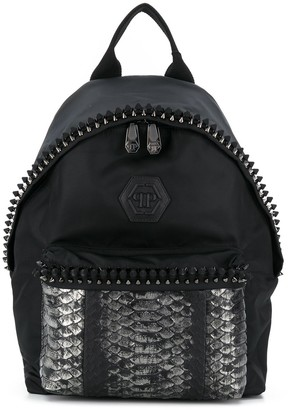 Philipp Plein Stud-Embellished Metallic Backpack
