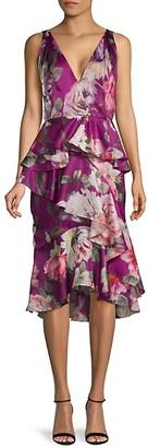 Marchesa Floral Silk Cocktail Dress
