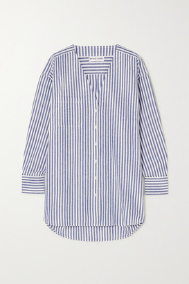 Apiece Apart Varna Oversized Striped Cotton And Linen-blend Shirt - Light blue